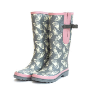 Adjustable wide calf wellies buterfly grey pattern from The Wide Welly Company