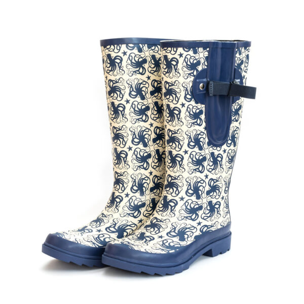 Wide calf adjustable wellies octopus print from The Wide Welly Company