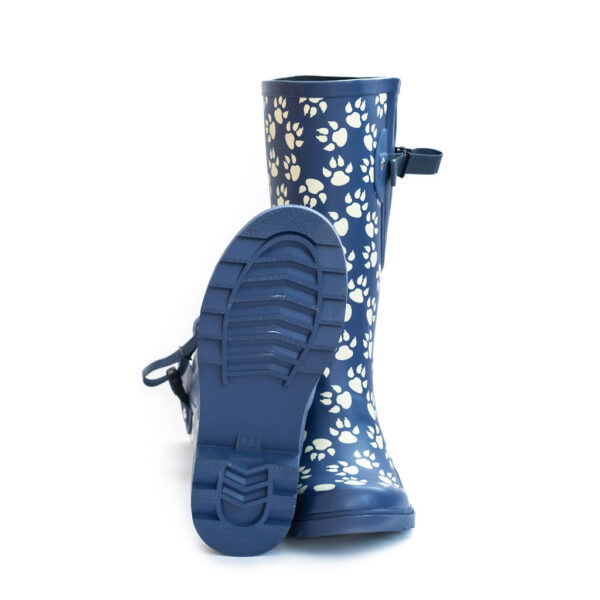Adjustable wide calf wellies posh paw print blue pattern from The Wide Welly Company