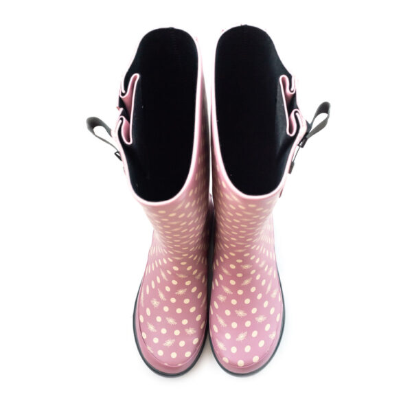 Adjustable wide calf wellies in polka bees pink pattern from The Wide Welly Company