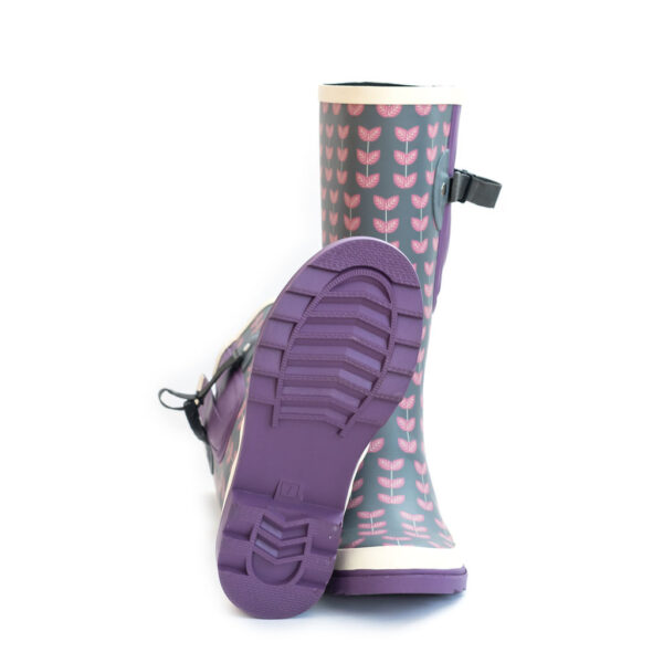 Wide calf adjustable wellies scandi leaf grey and pink pattern from The Wide Welly Company