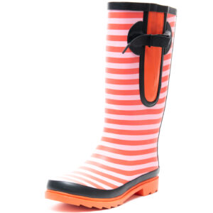 Red Stripe Wellies By The Wide Welly Company