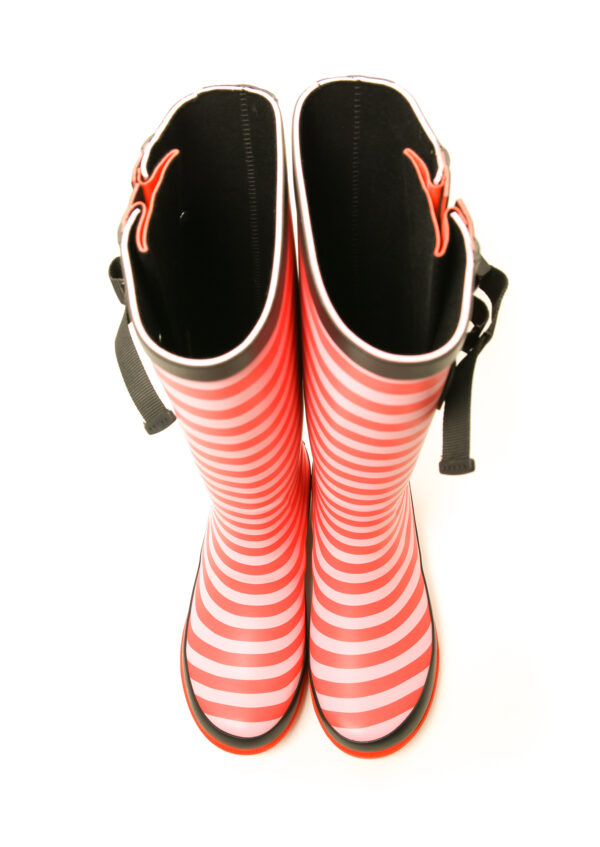 Red Stripe Wellies Above